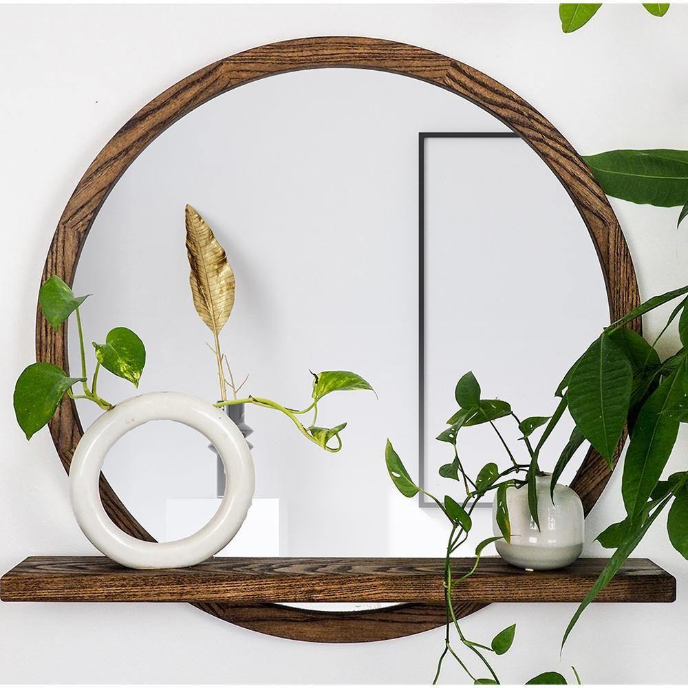 Photo of Round Wooden Mirror with Shelf