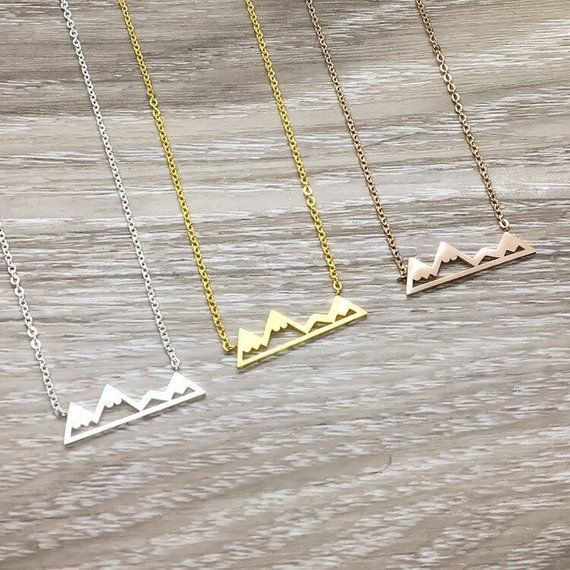 Photo of Tiny Mountain Necklace, Dainty Travel Jewelry, Hiking Jewelry, Nature Lover Gift, Outdoorsy Gift, Sister Necklace, Hiker, Traveler Gift
