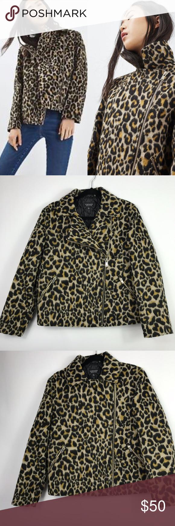 51a3daec4027 Topshop leopard print biker jacket The cutest leopard print moto jacket!  Wear with your favorite
