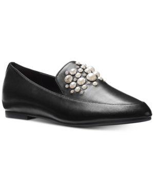 e34f2cbca5c Michael Michael Kors Gia Pearl-Studded Loafer Flats - Black 8.5M ...