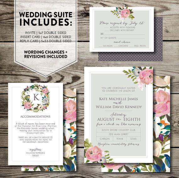 Floral printable WEDDING INVITATION SET / digital wedding invite / custom wedding invite / wedding invite download