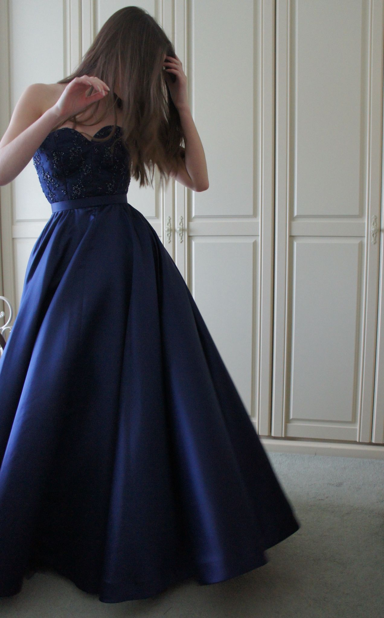 1950s Style Prom Dress Made For A Client Beaded Bodice With French Navy Blue Satin Circle Skirt Corseted Underdr Fancy Dresses Fancy Frocks Navy Prom Dresses [ 2048 x 1272 Pixel ]