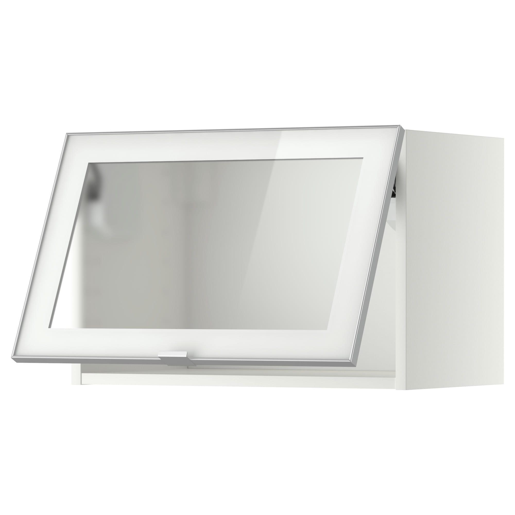 metod wandschrank horiz. m vitrinentür, weiß, jutis frostglas