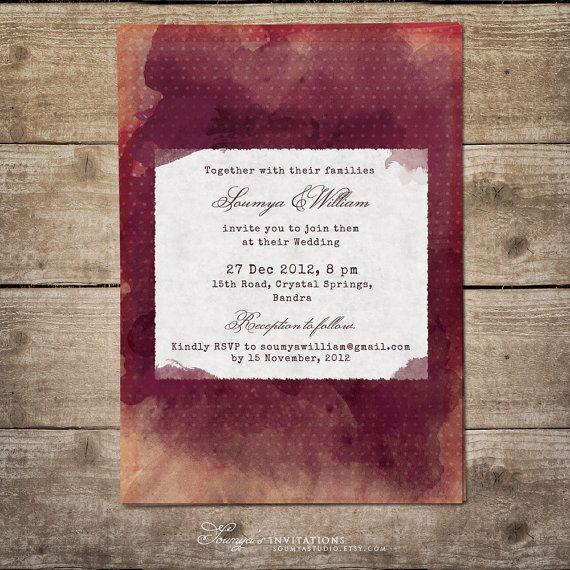 invitation watercolor https://www.etsy/listing/181029332, Wedding invitations