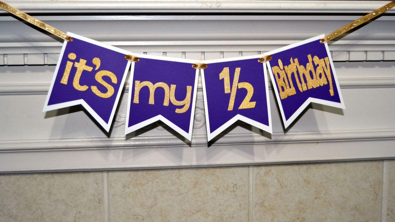 Its My 1 2 Birthday Purple Banner Half Girl Decorations Photo Prop By CelebrateCustomEvent On Etsy