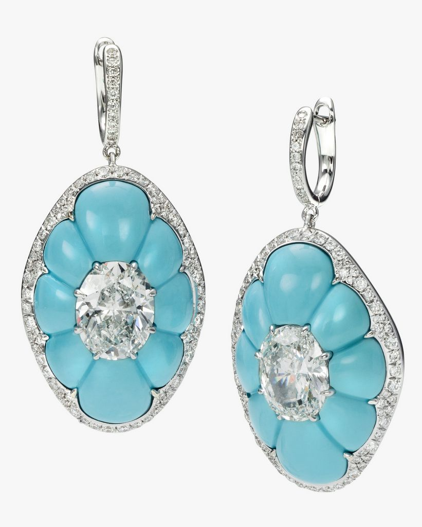 Find This Pin And More On Sense Of Whimsy By Ruapraia Boghart Drop  Earrings Featuring Two Oval Diamonds Inlaid Into Turquoise