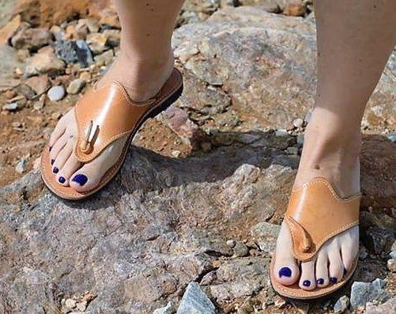 Flat Leather Sandals Leather  Flip Flops  Women Sandals | Etsy