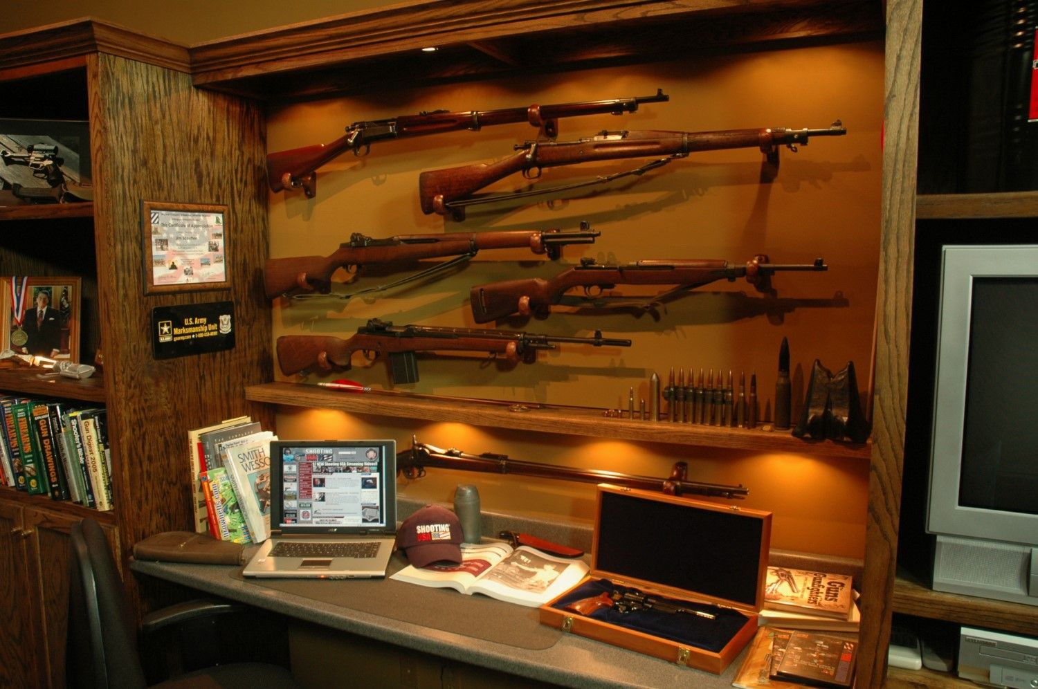 Service rifle display dream home dave 39 s gun room for Home gun room