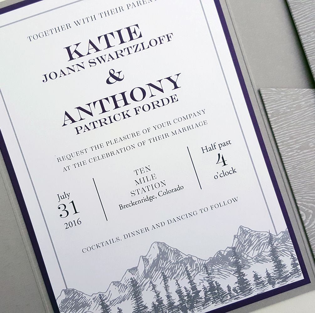 Rustic Modern Wedding Invitations feature gray and purple with ...