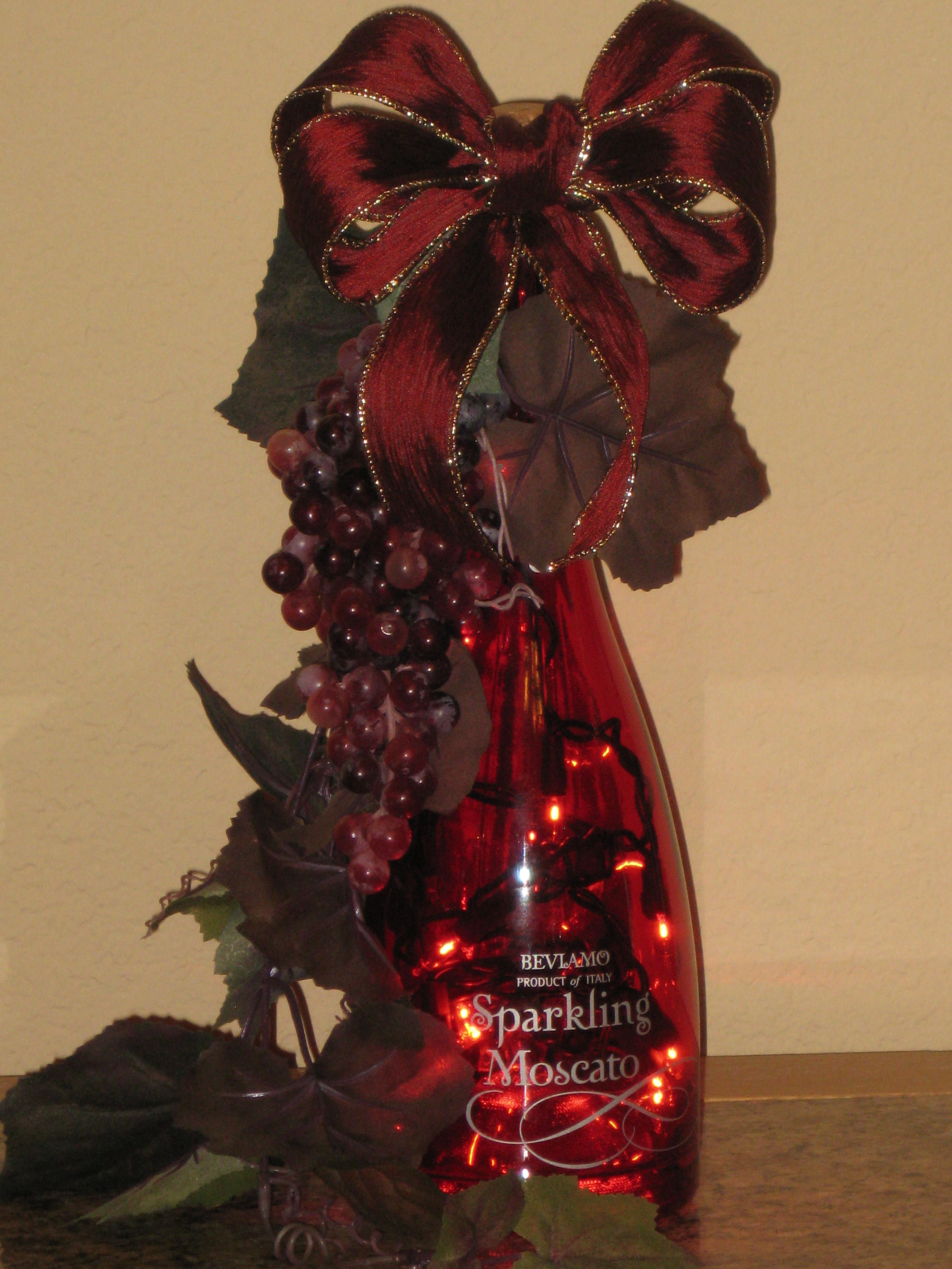 Red Wine Bottle Light For Sale In My Etsy Shop Red Bow Red Grapes Grapevine Wine Bottle Decor Wine Craft Wine Decor