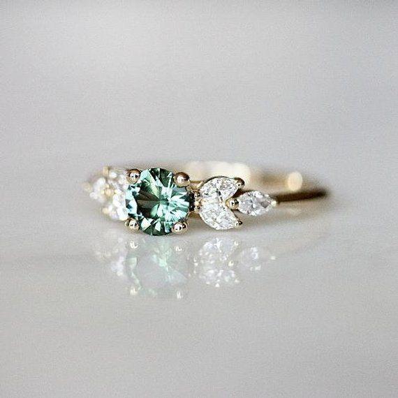 Teal Sapphire Engagement Ring | Leaf Engagement Ring | Montana Sapphire | Nature Inspired Wedding Ring | Diamond Alternative [The EVA Ring]