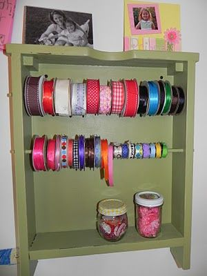 Storage Organizer For Ribbon Made From An Old Drawer Genius