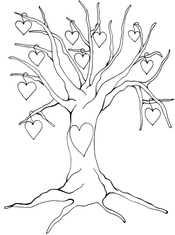 Heart Tree Without Leaves Coloring Page Leaf Coloring Page Tree