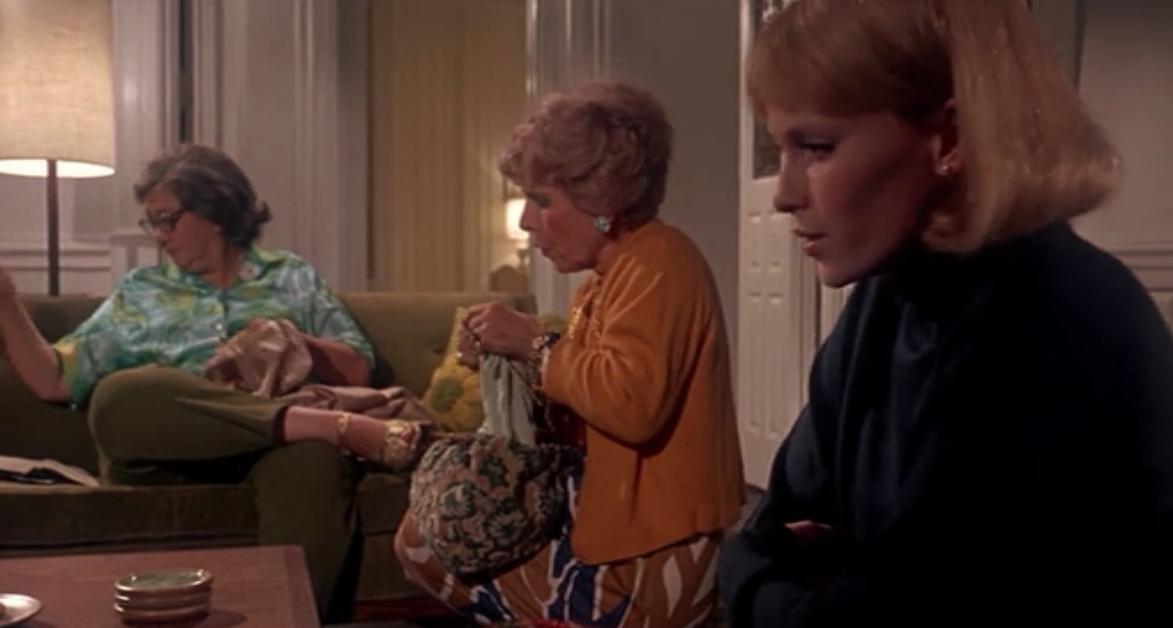 Minnie Castevet, Rosemary's neighbor, knits///Rosemary's Baby