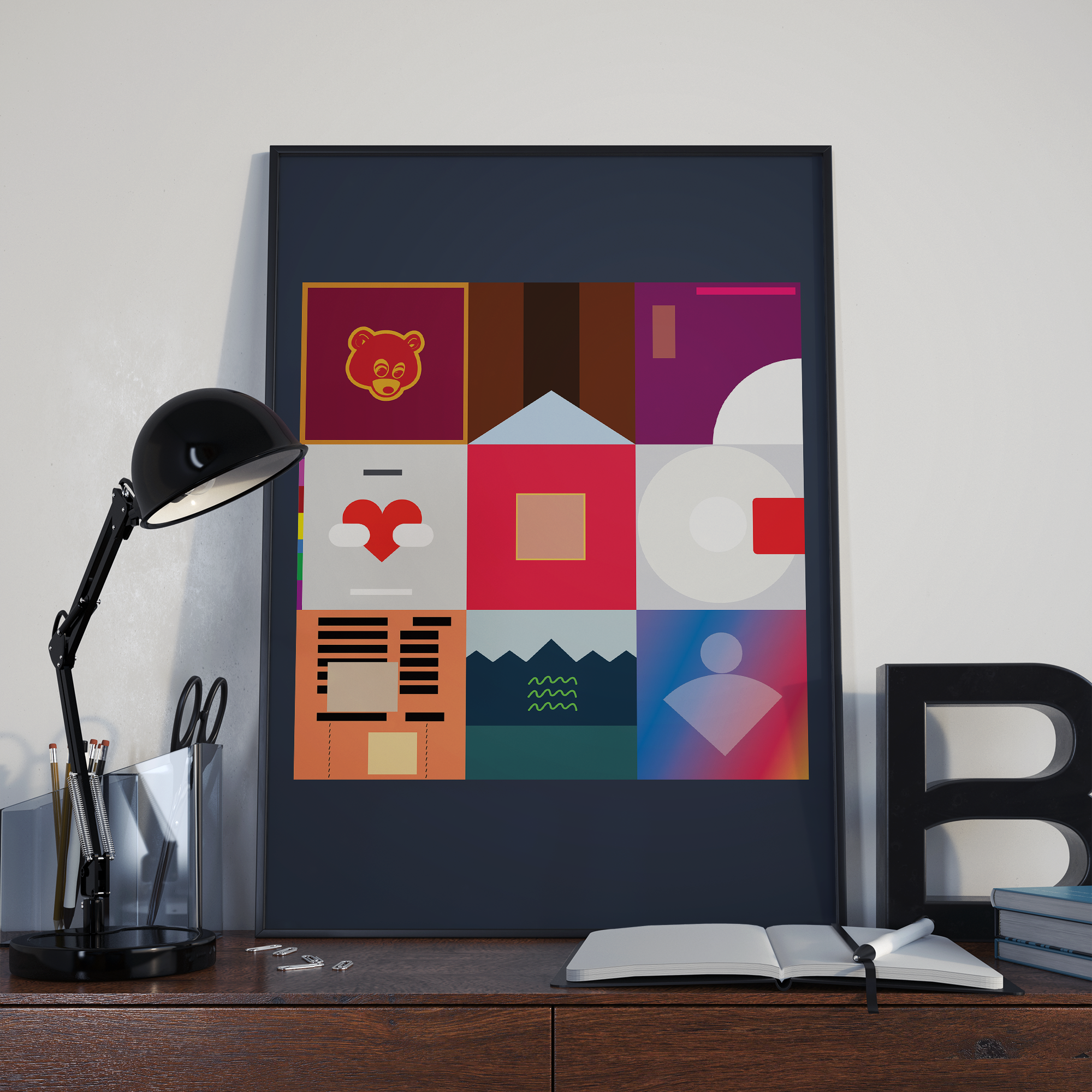 Kanye West Inspired Poster Minimalist Album Covers Etsy Poster Prints Album Covers Beautiful Dark Twisted Fantasy