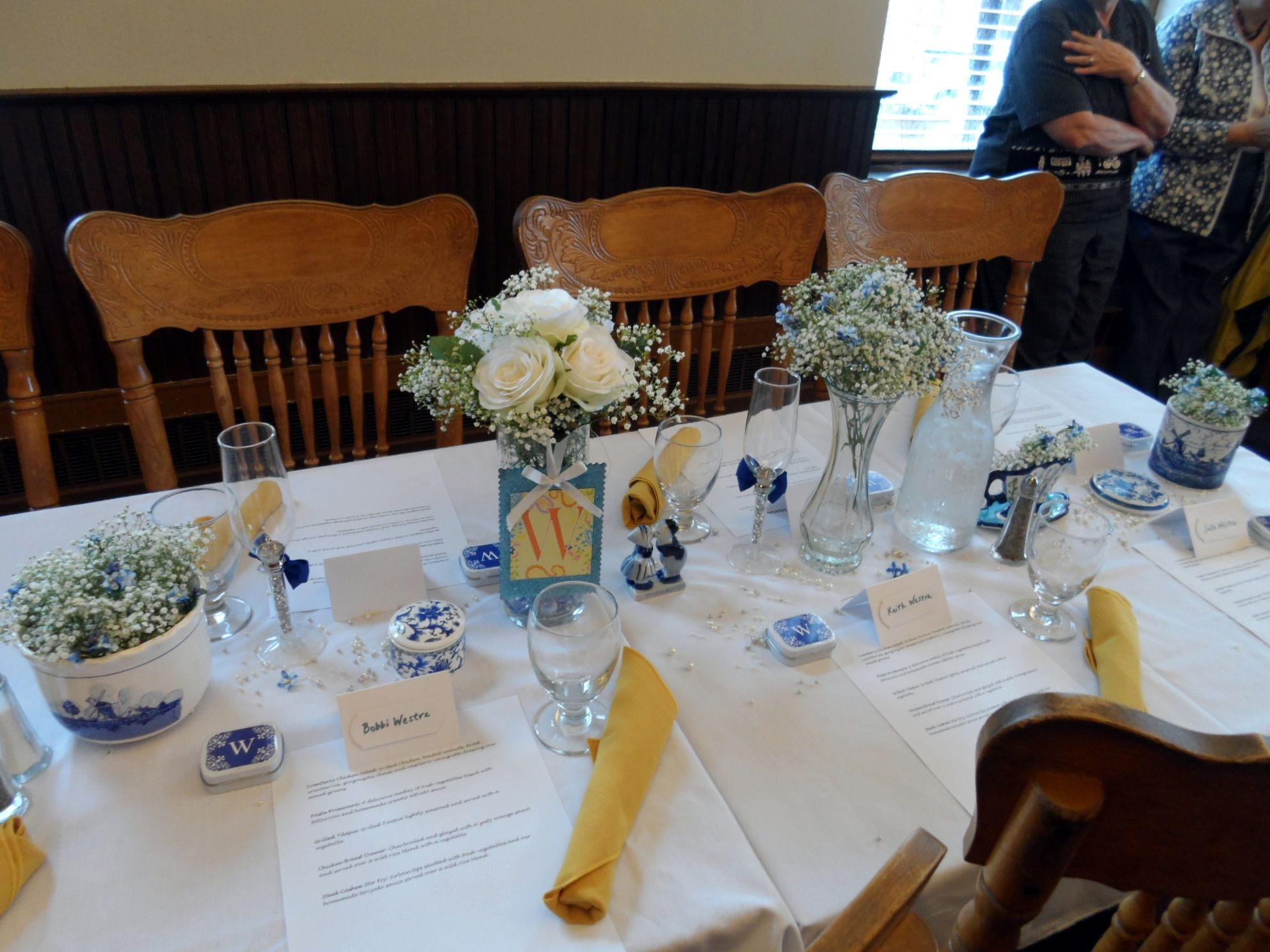 We had hand printed name cards and menus on the table before guests arrived