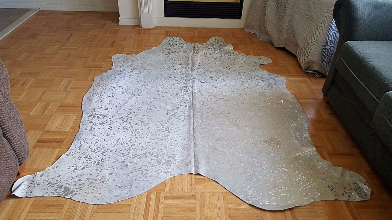 An Extra Large Silver Metallic On Pure White Cowhide Rug