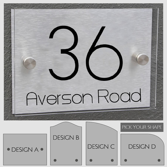 Modern House Number Sign Plaque Street Designer Door Aluminium