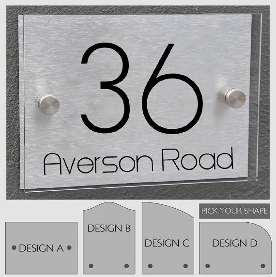 modern house number sign plaque street designer door. Black Bedroom Furniture Sets. Home Design Ideas