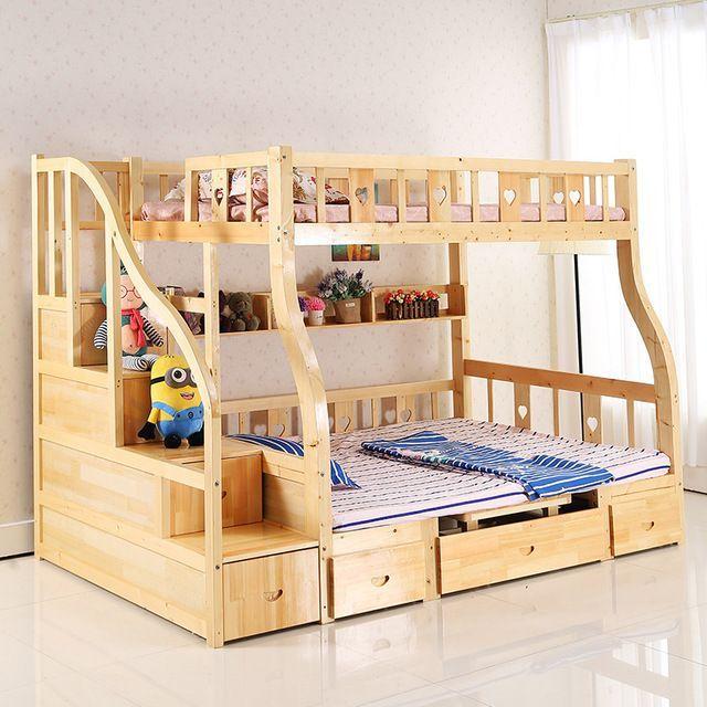 Los niños de cama litera multifunción madera niños toboganes puede