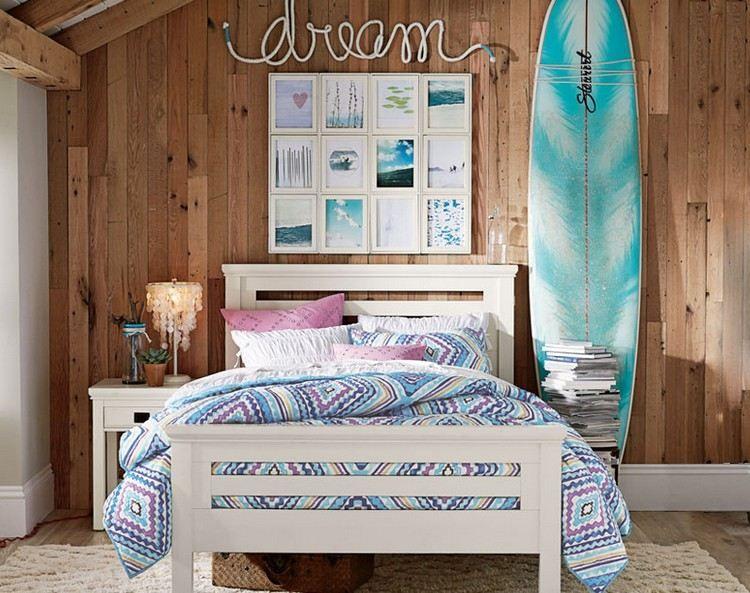d co chambre enfant avec planche de surf 50 inspirations planche de surf deco murale et surf. Black Bedroom Furniture Sets. Home Design Ideas