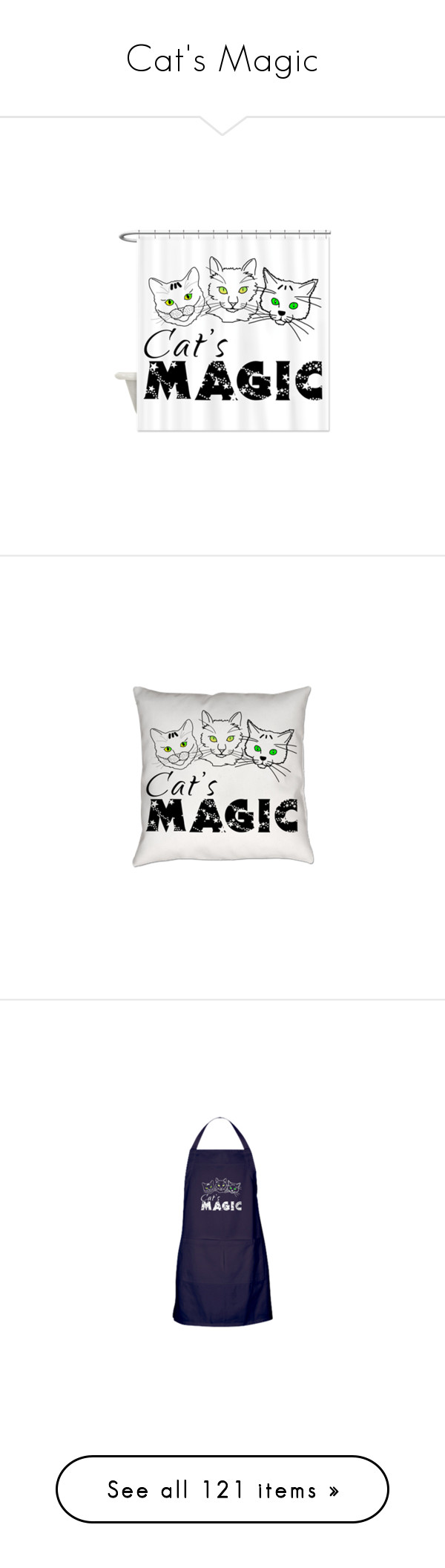 """""""Cat's Magic"""" by polyart-466 ❤ liked on Polyvore featuring home, bed & bath, bath, shower curtains, home decor, throw pillows, office accessories, tops, t-shirts and accessories"""