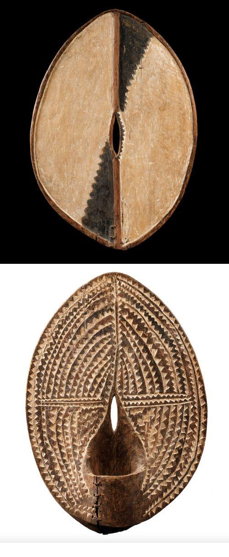 "KIKUYU ""ndome"" (initiation arm shield), Kenya, (68 cm). Wood and pigments. Collection Lord McAlpine, Londres"