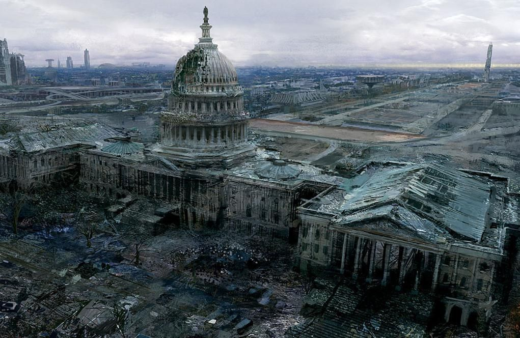 Washington DC-After the war, it shows recognized landmarks in ruins. This  is what the earth is now like. | Collapse of america, Post apocalypse, Post  apocalyptic