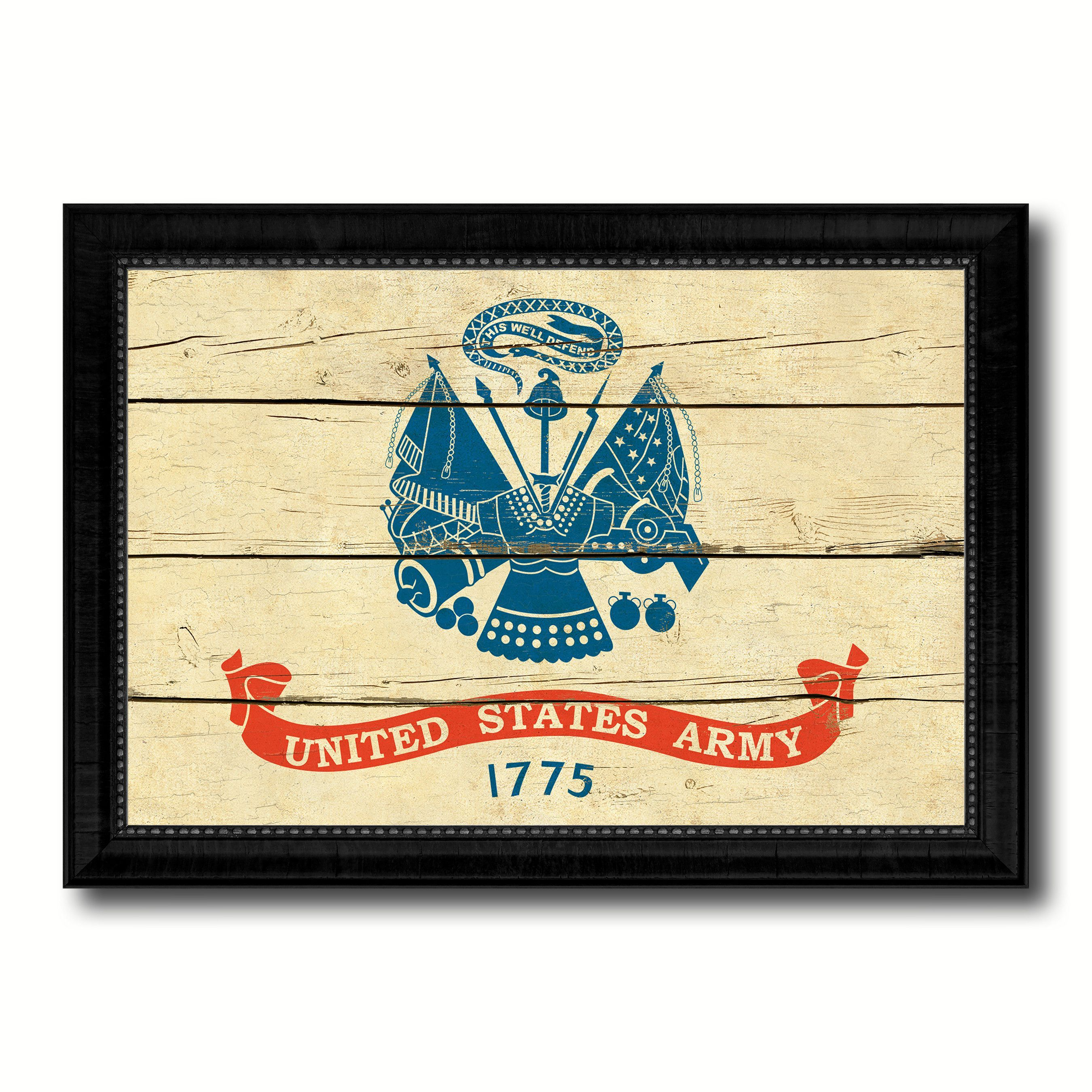 US Army 1775 Military Flag Vintage Canvas Print with Black Picture ...