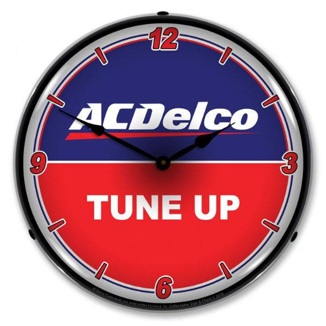 Antique Style Acdelco Tune Up Led Lighted Backlit Clock With Images Wall Clock Light Wall Clock Clock