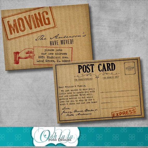 Moving announcement change of address cards cardboard diy moving announcement change of address cards cardboard diy printable customizable colourmoves
