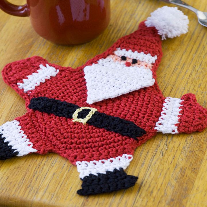 Free Mr. Claus Potholder Crochet Pattern from RedHeart.com | Holiday ...