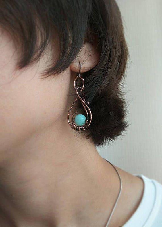 Copper Wire winding earrings Sky blue agate beads