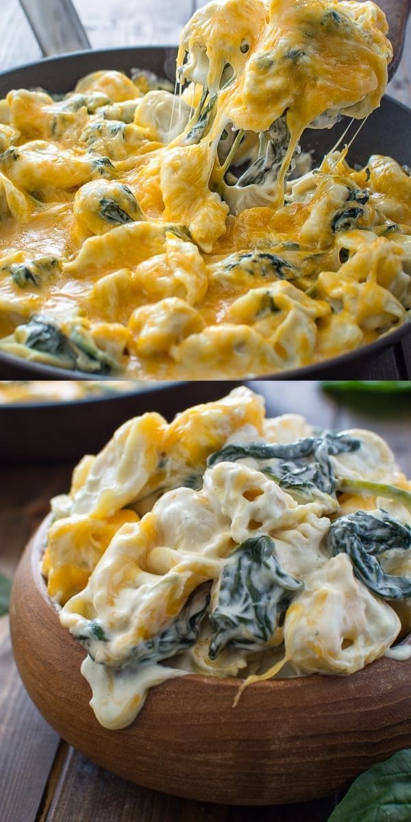 This 5-ingredient Creamy Spinach Tortellini makes a quick and tasty dinner that all the family will love! FOLLOW Cooktoria for more deliciousness! #tortellini #dinner #lunch #vegetarian #easyrecipe #quickdinner #recipeoftheday #kochenundbacken