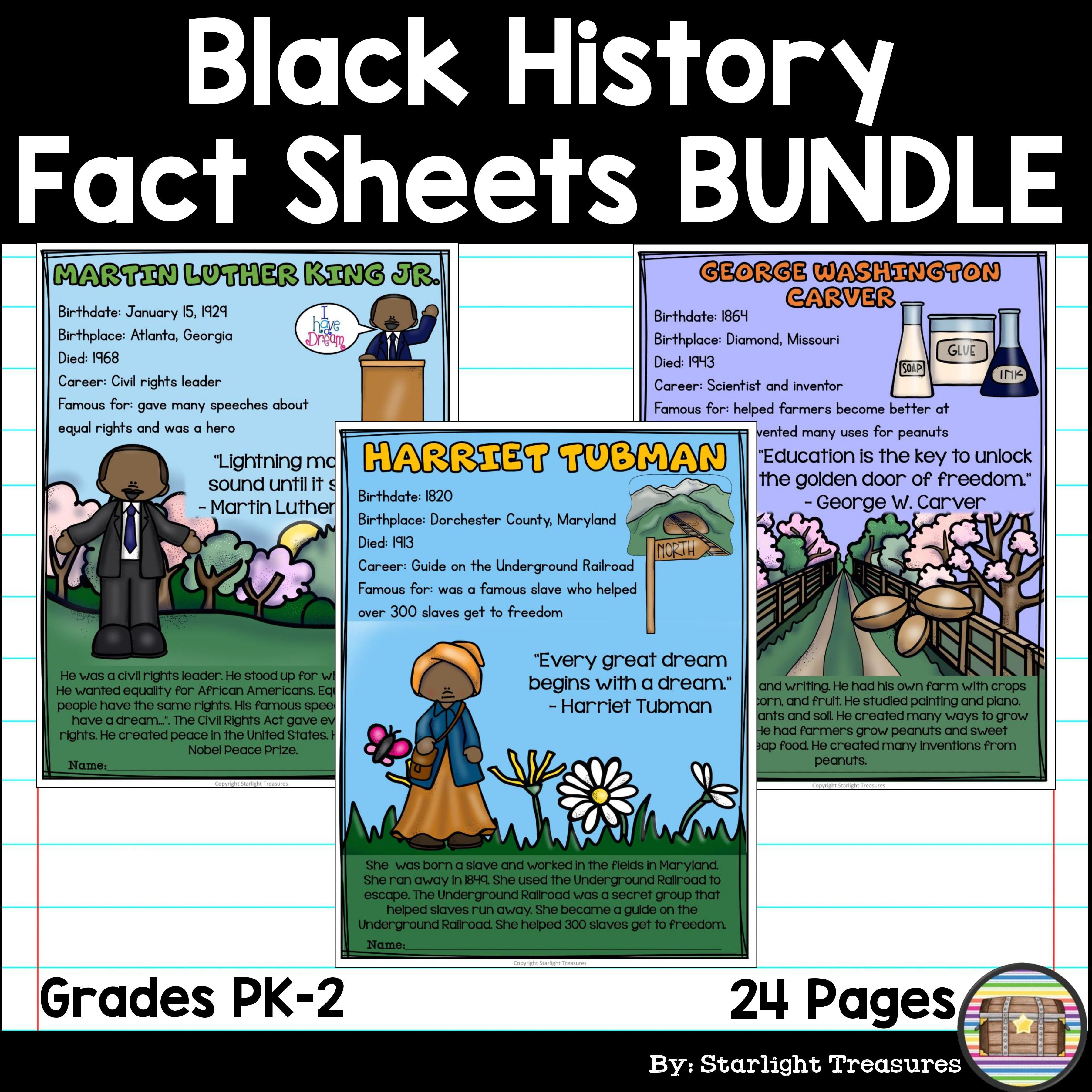 Black History Month Fact Sheets For Early Readers