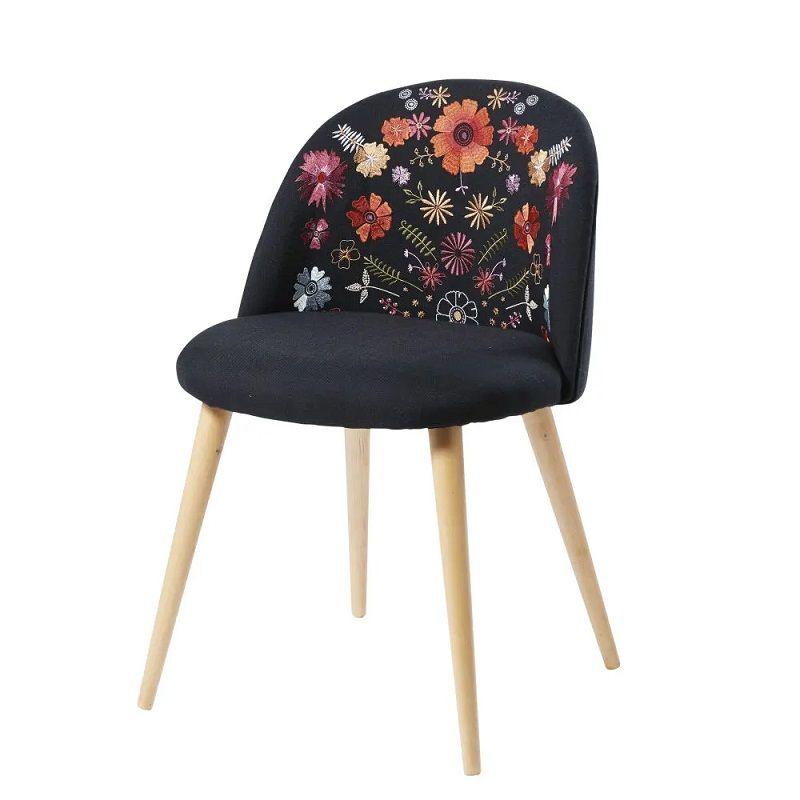 chaise vintage mauricette noire brod e et bouleau massif. Black Bedroom Furniture Sets. Home Design Ideas
