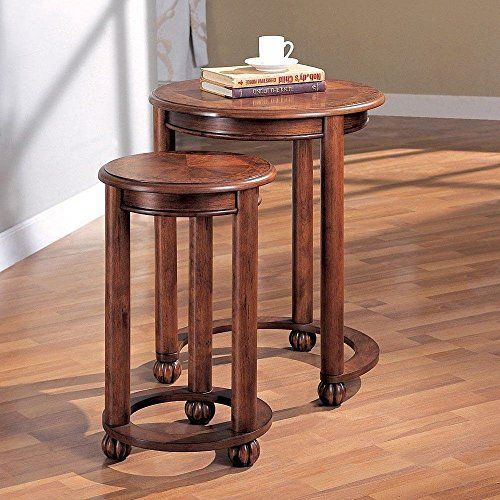 1PerfectChoice 2 Pieces Living Room Accent Round Nesting Tables Chair Side Snack Stand Cherry Details