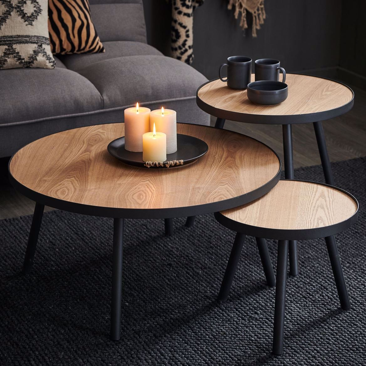 Alexis Table D Appoint Noir Naturel H 36 Cm O 40 Cm In 2020