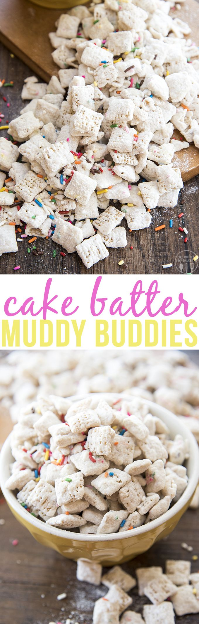 These cake batter muddy buddies are an addicting snack that tastes just like…