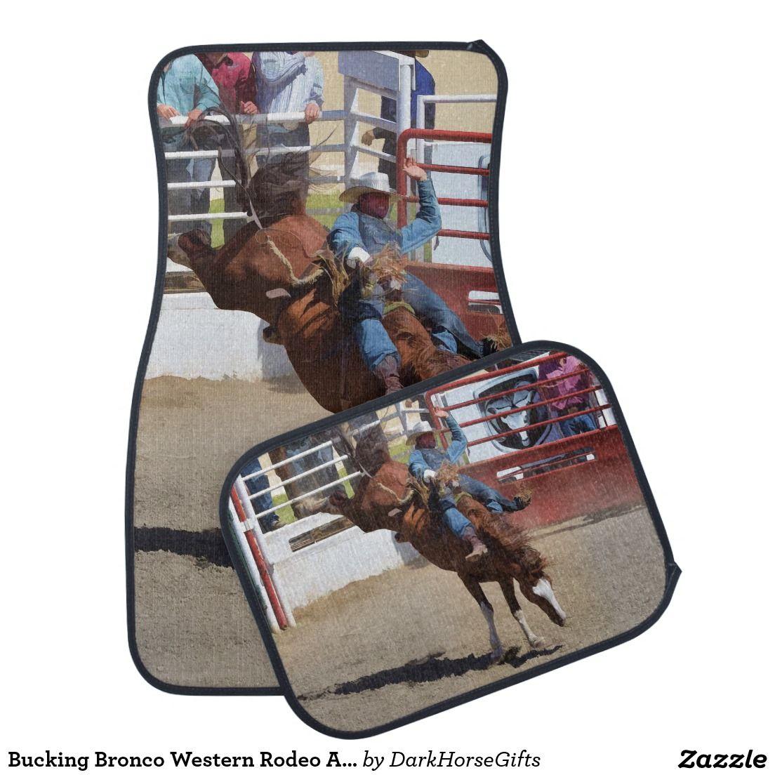 Bucking Bronco Western Rodeo Art 2 Auto Floor Mats Car Floor Mats Bucking Bronco Bronco
