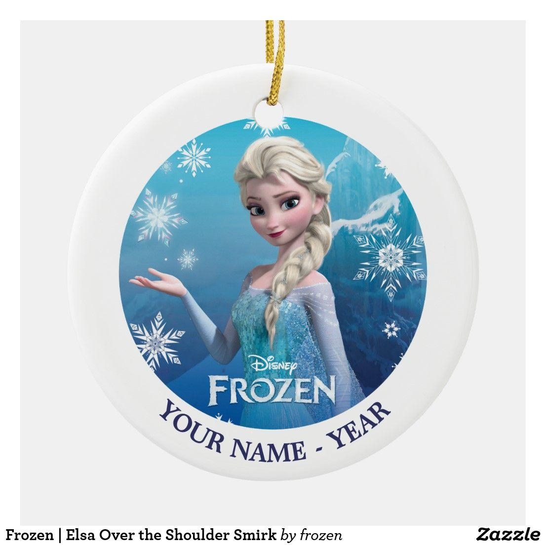 Frozen Elsa Over The Shoulder Smirk Ceramic Ornament Zazzle Com Frozen Ornaments Elsa Frozen Disney Silhouettes