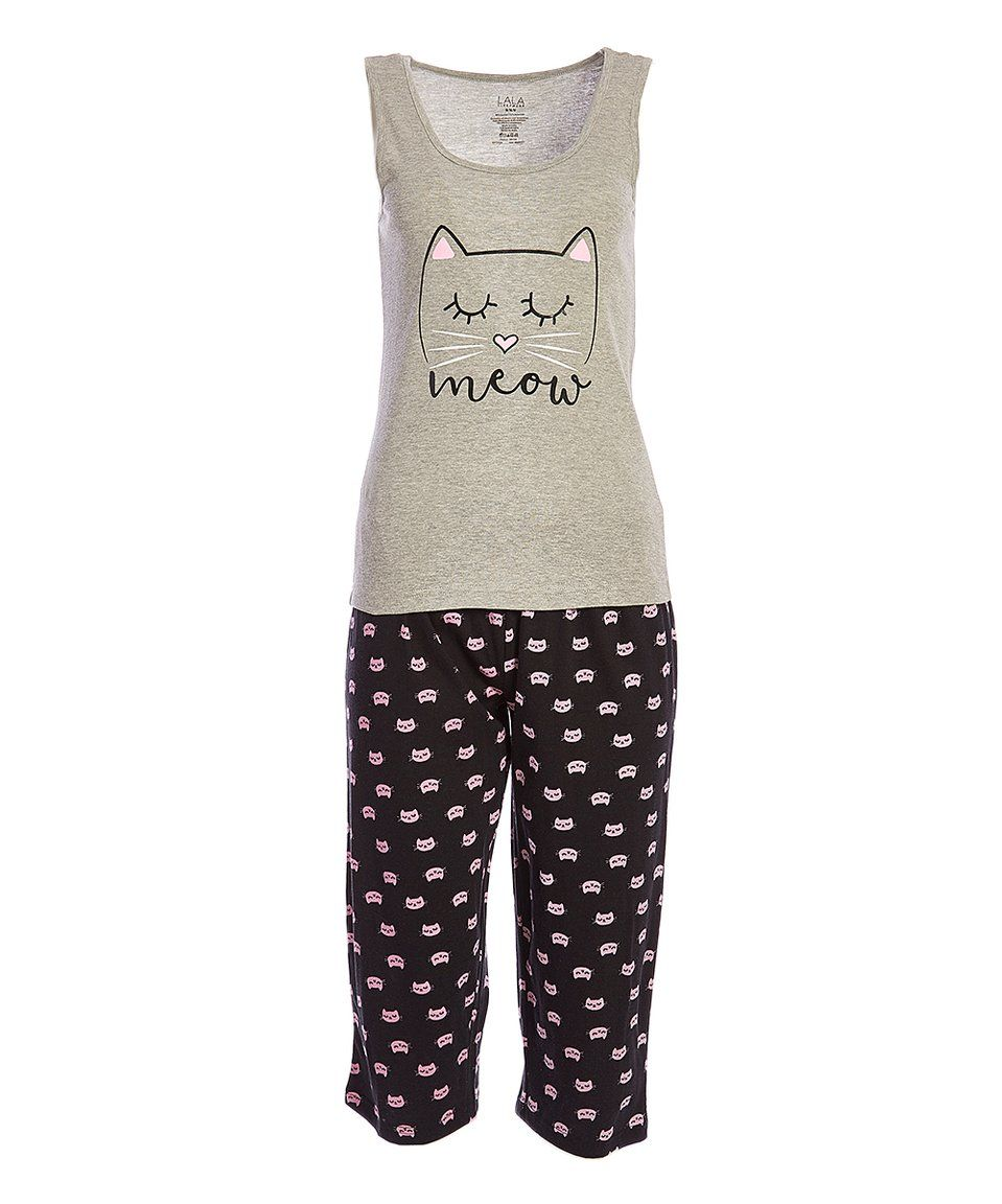 8bb56f798af Take a look at this Heather Gray & Black 'Meow' Capri Pajama Set ...