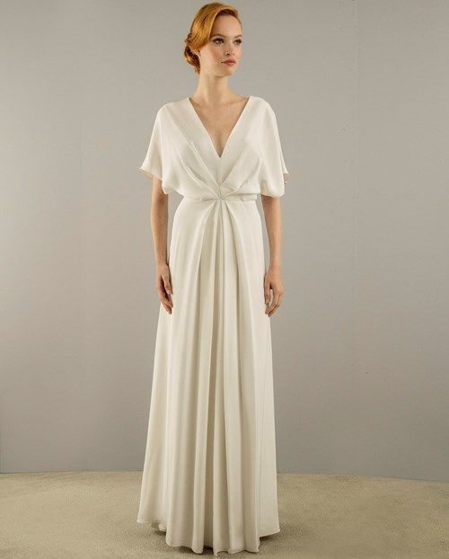 Christian Siriano V-Neck Sheath Gown in Silk Crepe | KleinfeldBridal ...