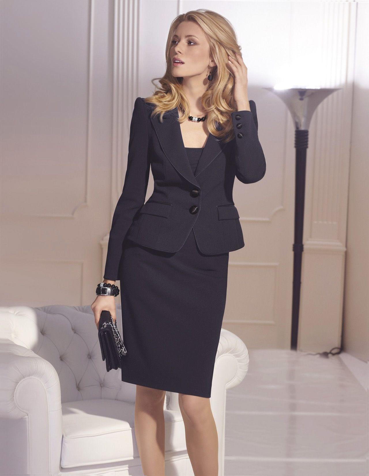 Navy Blue Skirt Suit & Clutch - women's formal work wear ...