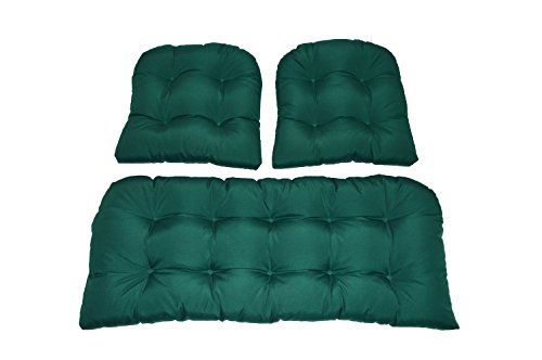 3 Piece Wicker Cushion Set Solid Hunter Green Indoor Outdoor Fabric Cushion For Wicker Loveseat Settee 2 Match Wicker Loveseat Outdoor Fabric Cushion Fabric