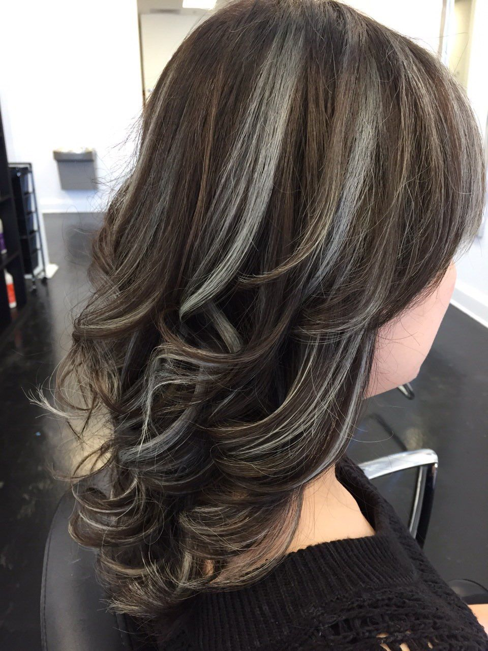 Metallic Highlights Dark Hair With Highlights Gray Hair Highlights Blending Gray Hair