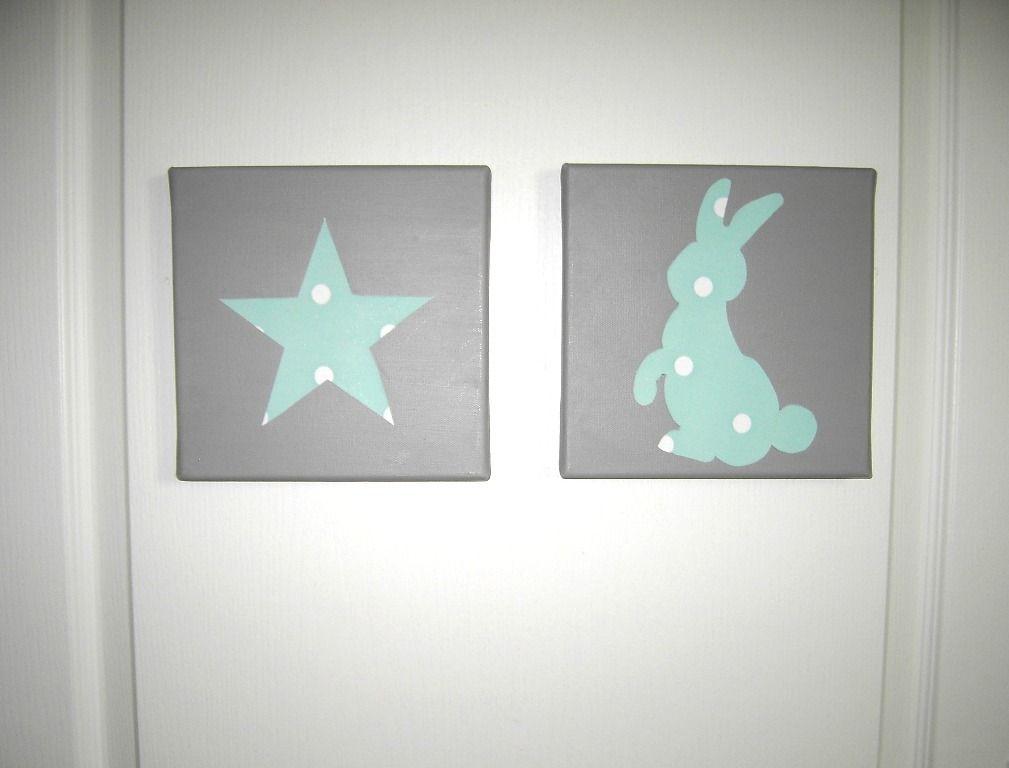 Tableau Diptyque toile Et Lapin Turquoise Clair Sur Fond Taupe