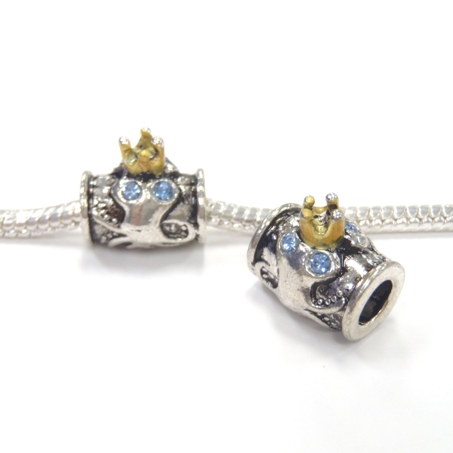 1 pc Blue Rhinestone Octopus Gold Silver Tone European Style Beads Spacer Charms for Bracelet Necklace Lot E1181