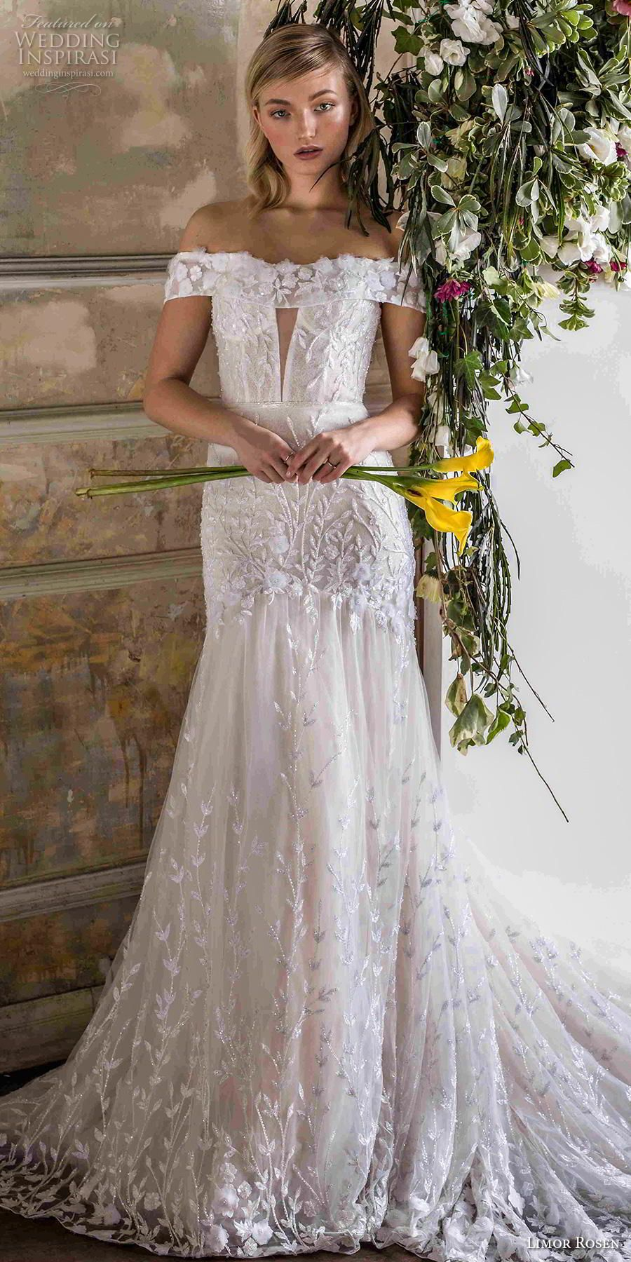c1d8cf002835 limor rosen 2019 bridal off the shoulder straight across neckline heavily  embellished bodice drop waist a