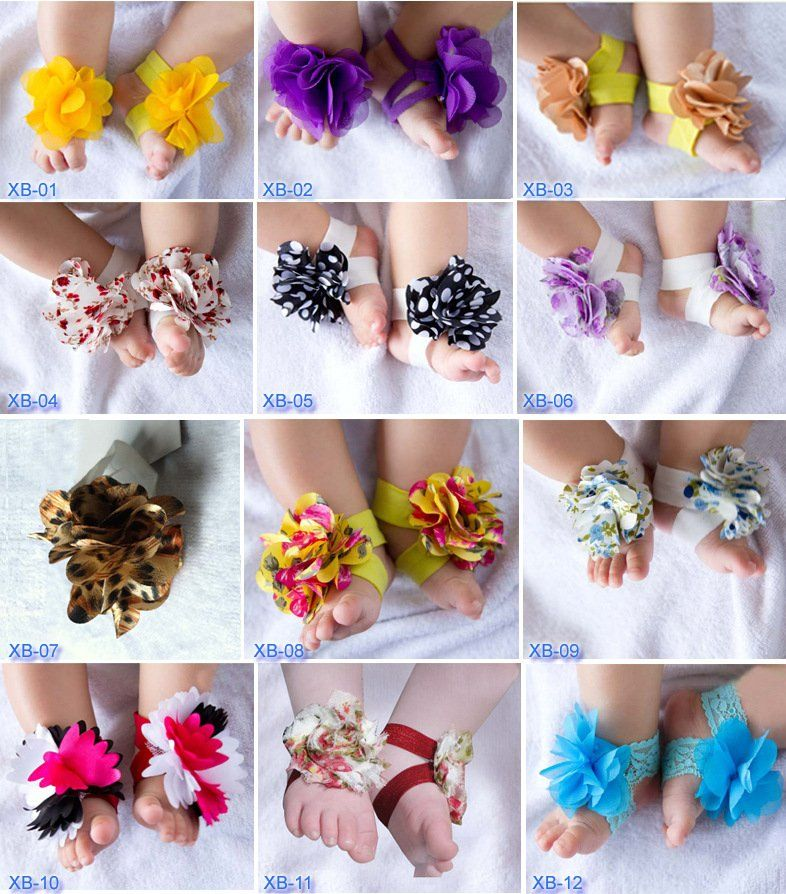 free shipping,new ,baby shoes flower feet barefoot sandals girls christmas gift ,foot flower,baby walker cotton,20pairs/lot #04-in Sandals from Shoes on Aliexpress.com